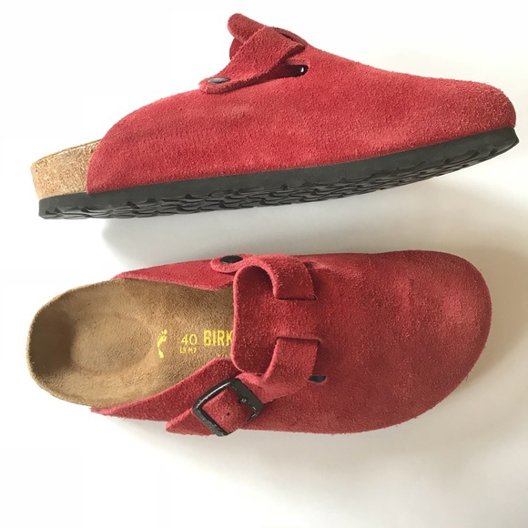 d9a0a2e49ce Birkenstock Shoes - Birkenstock Boston Soft Footbed Red Suede Clog 40